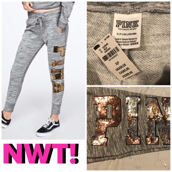5df19176c7c62 SALE💎NWT! PINK SEQUIN BLING SKINNY JOGGERS💎 NWT